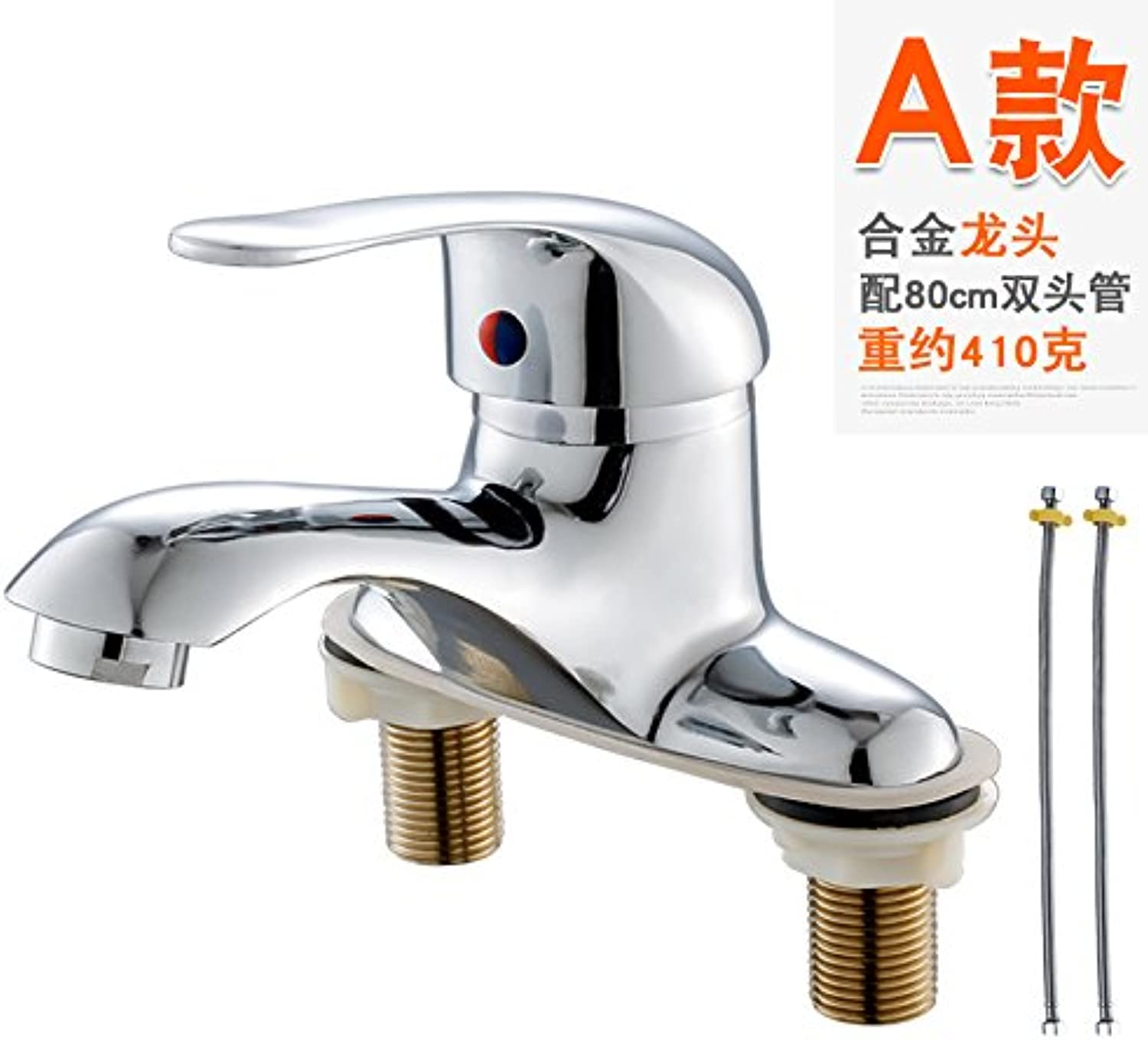 PajCzh Bathroom Fixturesthree-Hole Water Bath Universal Double-Head Faucet Pure Copper Wall-Mounted Hot And Cold Water Heater Mixing Valve Nozzle, A Alloy Double Hole Faucet +80 Double Head Tube