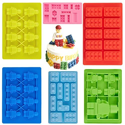 6 Pcs Robot Molde de silicona de chocolate,Molde de silicona para cubitos de hielo,Molde de Silicona para Fondant,para Hornear Fudge Chocolate mazapán Pastel Jalea Muffin Candy