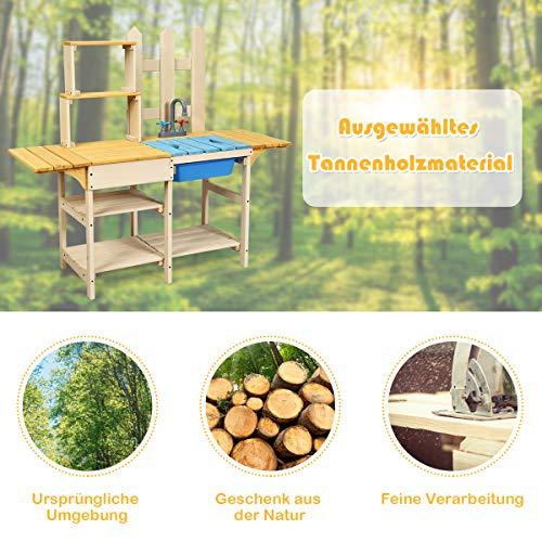 COSTWAY Matschküche mit Wasserhahn, Kinderküche Holz, Outdoor Küche, Holzküche, Spielküche, Spielzeugküche für Kinder ab 3 Jahren, 109 x 38 x 100 cm - 7