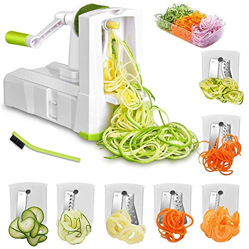 Spiralschneider Mit 7 Klingen für Gemüse, Spiralschneider und Crisper, Anti-Rutsch-Spiralschneider für Zucchini Nudeln Veggie Pasta Maker