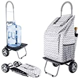 dbest products Bigger Trolley Dolly, Grey Chevron Shopping Grocery Foldable Cart