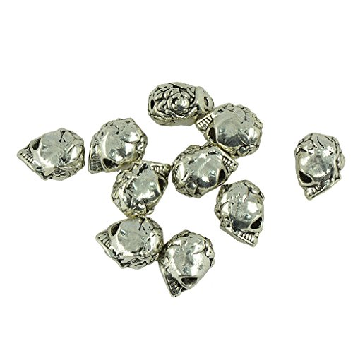 oshhni 10 Pieces Fashionable Skull Shaped Beads, Jewelry Pieces for DIY Beads