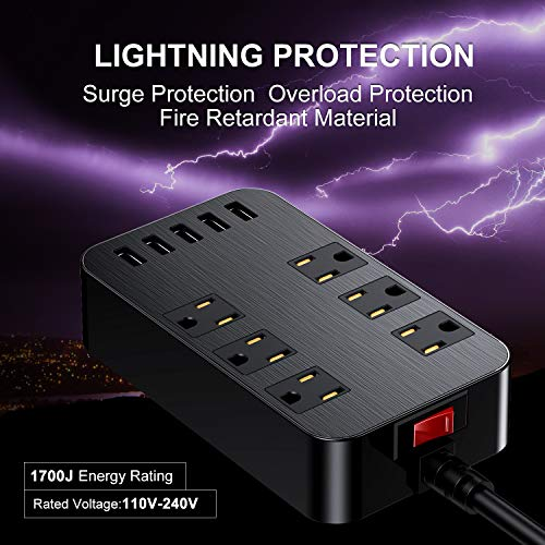 10Ft Surge Protector Power Strip with USB,ETL Listed,6 Widely-Spaced Outlets & 5 USB Ports, 1700 Joules, Right Angel Flat Plug, 10ft Long Extension Cord, Wall Mountable,On/Off Switch, Black 2
