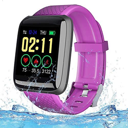 Fitness Tracker Sport Watch Reloj Inteligente Impermeable IP67 para Hombre Mujer niños,Pulsera de Actividad Inteligente con Monitor Fitness Tracker para Android iOS