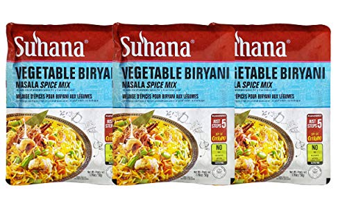 Suhana Indian Masala Vegetable Biryana Curry Spice Mix (3 Pack, Total of 8.43oz)
