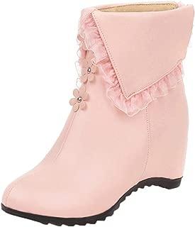 ELEEMEE Women Wedge Heel Ruffle Height Increase Zip