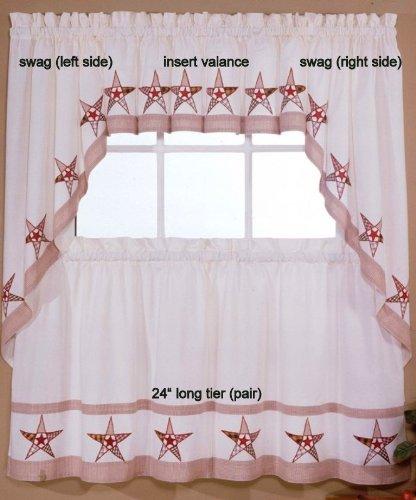 Country Stars - Ecru/Red - Swag (pr) Kitchen Curtain