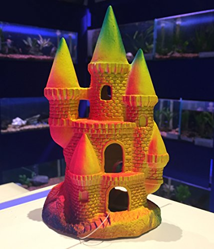 Mezzaluna Gifts Colourful Fluoro Ceramic Princess Castle Aquarium Fish Tank Ornament