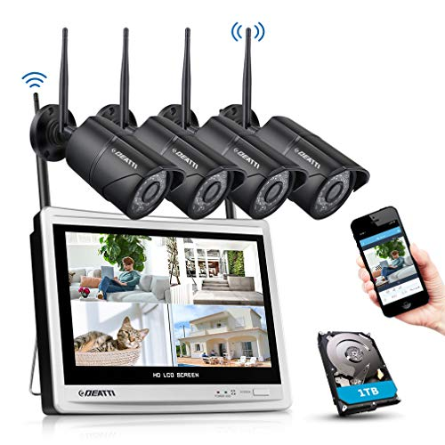 DEATTI Set di telecamere di sorveglianza WLAN 8CH 1080P con monitor LCD da 12