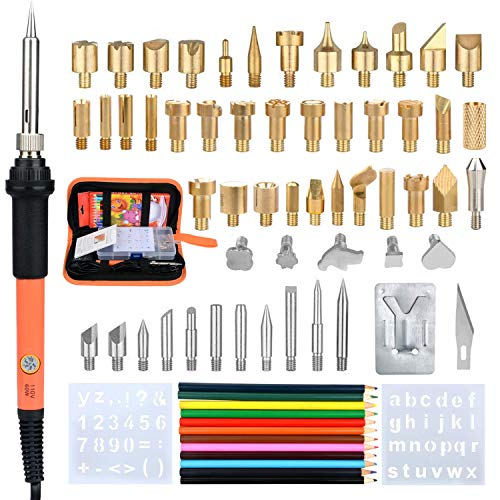 BELUPAI Wood Burner Kits, 71-Pack Adjustable Temperature Soldering Iron Wood Burning Pens Tool Set with 54Pcs Engraving HAeads for Adult Embossing, Soldering