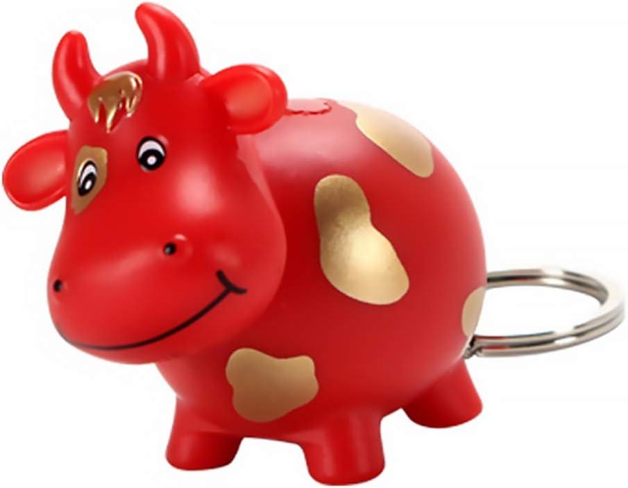 KESYOO Cow Key Chain LED Flashlight Sound Keyring Zodiac OX Animal Toys Purse Handbag Charm Car Pendant for Girl Women Gift 2021 Chinese New Year Red