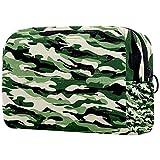 Bolsa de maquillaje portátil de viaje grande para cosméticos, neceser maquillaje o afeitadora, para hombre, mujeres y niñas, camuflaje verde militar