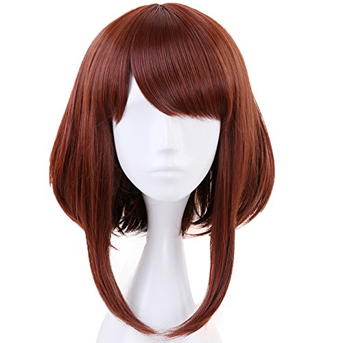 Anogol Hair Cap+Brown Wigs Short Bob Synthetic Hair Cosplay Wig Short Wavy For Anime Cosplay