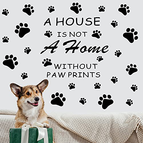 2 Hojas Pagatinas de Pared Calcomanía de Pared de A House Is Not A Home without Paw Pagatina de Pata de Perro Decoración de Calcomanía de Pata de Perro para Guardería Infantil Habitación