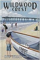 HDワイルドウッドクレストニュージャージー-ライフボートと桟橋(米国製52*38成人向けプレミアム500ピースジグソーパズル!)