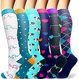 Sooverki Calcetines de compresión para Mujeres y Hombres 20-25 mmHg es el Mejor Graduado atlético, Correr, Volar, Viajar, Enfermeras 10-Multicolor-6 Pares L/XL
