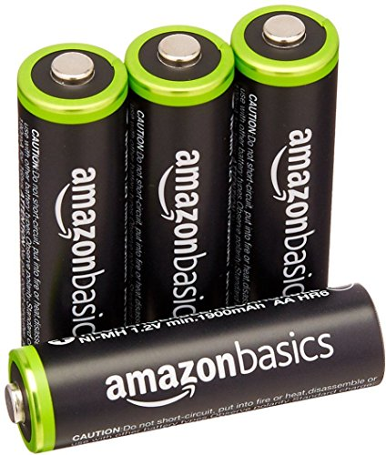 AmazonBasics 4 Pack AA Ni-MH Pre-Charged Rechargeable Batteries, 1000 Recharge Cycles, (Typical 2000mAh, Minimum 1900mAh) - Packaging May Vary