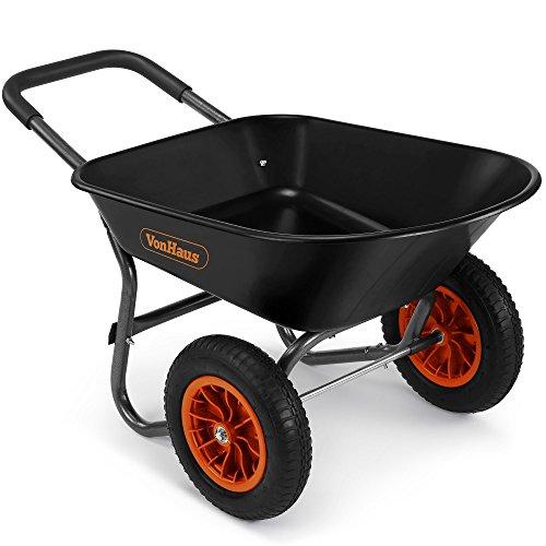 VonHaus Brouette 78 l à 2 roues - Accessoire de jardinage robuste, Transport de tous types de matériaux — Capacité de 100 kg