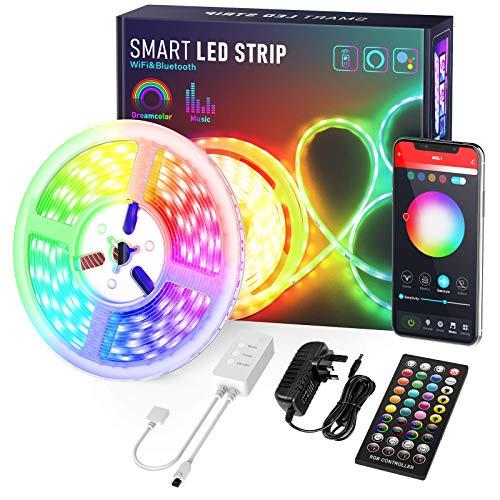 Led Strip 6M Alexa, Nobent Smart RGB WiFi LED Streifen, Farbwechsel LED Band mit IR Fernbedienungl, Musik Sync, Kompatibel mit Alexa und Google Assistant [Energieklasse A]