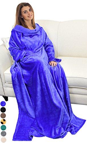 Catalonia TV-Decke mit Ärmeln und Tasche, Flauschig Weiche und Warme Tragbar Kuscheln Snuggle Decke Mikrofaser-Ärmeldecke Robe ideal für Frauen und Männer, 185 cm x 130 cm, Blau