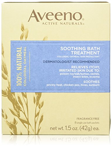 Aveeno Soothing Bath Treatment with 100% Natural Colloidal Oatmeal for Treatment & Relief of Dry, Itchy, Irritated Skin Due to Poison Ivy, Eczema, Sunburn, Rash, Insect Bites & Hives, 8 ct (Pack of 3)