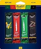 Vandoren SRMIXS25 Soprano Sax Jazz Reed Mix Card includes 1 each ZZ, V16, JAVA Green and JAVA Red Strength 2.5