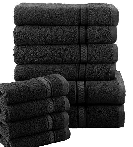 Casabella - Set di asciugamani morbidi da bagno per viso, mani, doccia 10 pezzi, 100% cotone, Nero , 10 pezzi