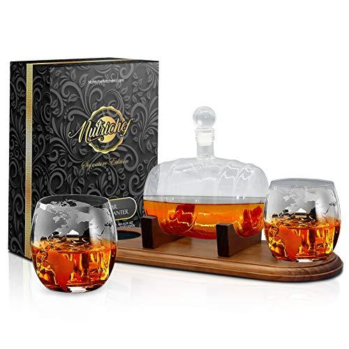 NutriChef NCGDS19 - Juego de vasos para whisky (750 ml), diseño de botella de whisky sin plomo con tapón y base, cristal, color marrón