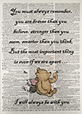 A3 Winnie The Pooh Braver Stronger Quote Friends Quote Print Vintage Dictionary Page Picture Wall Art Friendship Care Love