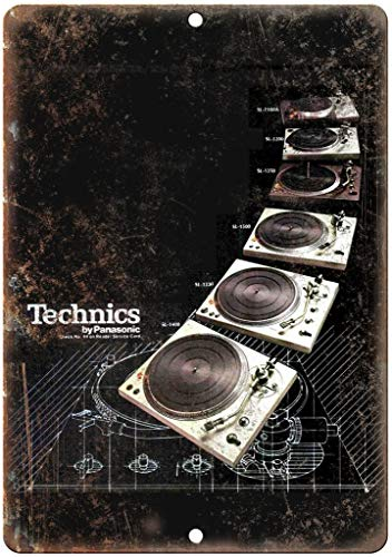 KODY HYDE Póster De Pared Metal - Technics Turntable SL DJ Ghetto Blaster - Cartel De Chapa Vintage Estaño Signo Decorativas Hojalata Placa para Bar Cafe Oficina Habitación Garaje