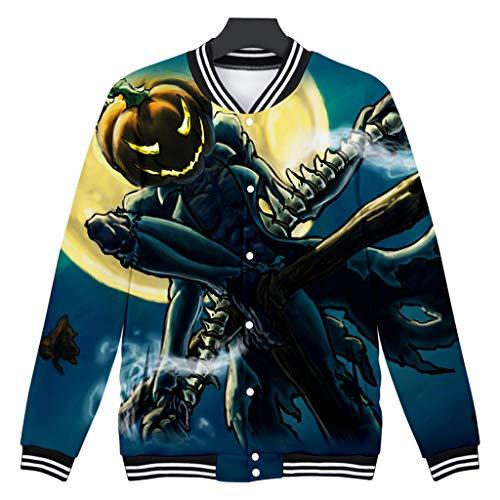 Z-MENG Herren Herren-Jacken Sportjacken für Herren Halloween Print Langarm Zip Hoodie Fashion Herbst Winter Sport Jacke Sweater Jacke Casual Cotton Jacket … (L, Schwarz)
