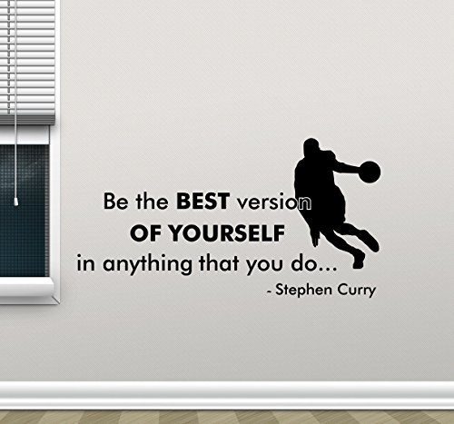 Stephen Curry Quote Wall Decal Be The Best Version of Yourself Basketball Player Sayings Sport Gift Vinyl Sticker Gym Print Wall Art Design Room Decor Poster Custom Mural 146bar