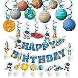 Haosell Decoración para cumpleaños infantiles, diseño de astronauta en espiral, decorac...