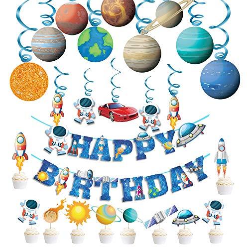 Haosell Decoración para cumpleaños infantiles, diseño de astronauta en espiral, decoración para colgar en el techo con pancarta Happy Birthday