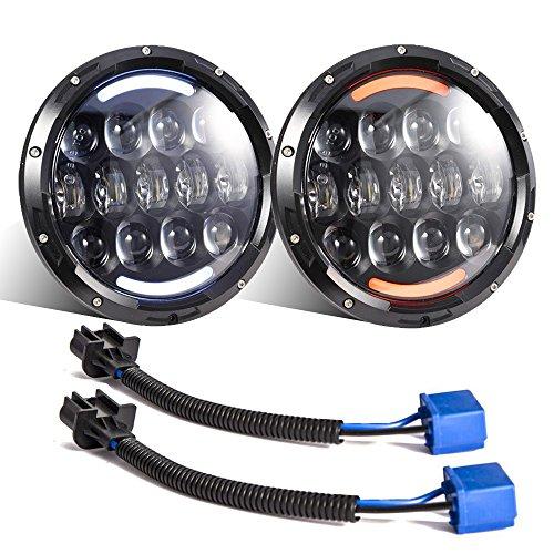 Esyauto 2 unidades, 105W, Osram 17,78 cm, redondo, LED faro con señal de color blanco/ámbar con intermitente DRL
