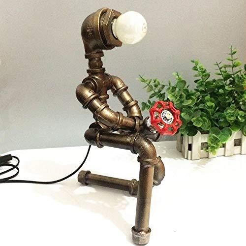 Moddeny Edison E27 Weinlese Steampunk Einen Roboter Tischlampe Retro Metall, Eisen, Wasser-Rohr-Schreibtischlampe Coffee Bar Shop-Loft Nacht Study Dekorative Schreibtisch Laterne Nachtbe