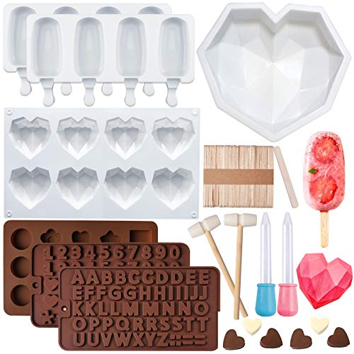 EBANKU Diamond Heart Silicone Cake Mold Trays Letter Number Chocolate Mold Mousse Dessert Baking Silicone Mold Set with Mini Wooden Hammers and Wooden Sticks for DIY Valentine Candy Chocolate