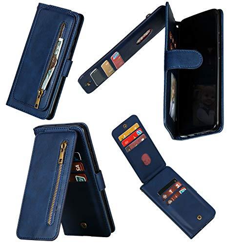 Miagon Reißverschluss Brieftasche Tasche Hülle für iPhone 12 Pro Max,Magnet Stand-Funktion Leder Schutzhülle Flipcase mit 9 Kartenfach und Handschlaufe,Blau