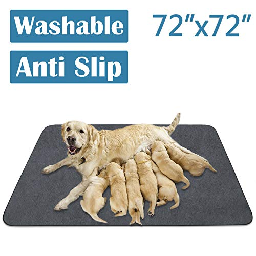 "SHU UFNRO Pee Pads for Dog Washable Reusable Dog Pads Non-Slip Puppy Pad Extra Large Heavy Absorbency Puppy Pee Pads Quick Dry Whelping Pads for Dogs Waterproof for Dog Playpen/Crate (65""x48""/72""x72"") Pads Training Trays"