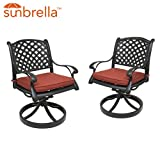 Table & Chair Designs - Nevada Cast Aluminum Patio Swivel Rocking Chairs with Sunbrella Premium Cushions (Set of 2, Scarlet)