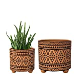 Set of 2 Planter Pots, 4 Inch & 6 Inch, Totem Design Terracotta Plants Pot with Drainage Hole, Terracotta/Black, 31-953-A-2