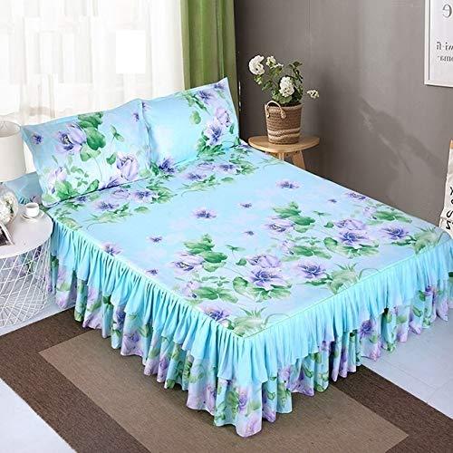uyeoco Falda de Cama de Microfibra con Volantes (Color : F, Size : 2pcs Pillowcase)
