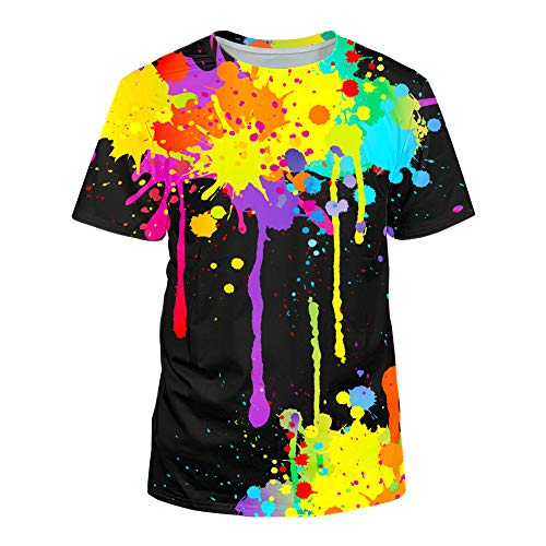 Kayolece Mens Womens Colorful Short Sleeve T Shirts Paint Tops XXL