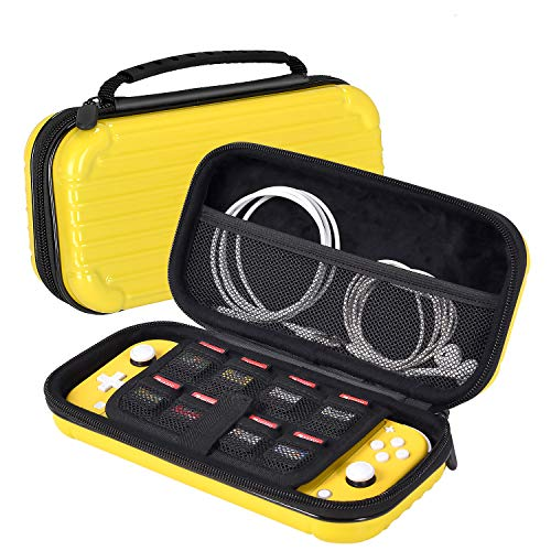 iHosok Carrying case for Nintendo Switch lite Console - Portable Travel Hard Shell Protective case with 8 Game Card Slots & Storage for Accessories-Yellow