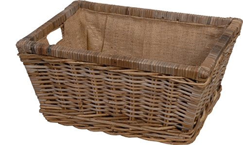 Wicker Storage Basket Unpeeled Rattan in Grey (Medium 52 x 40)