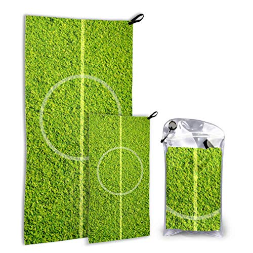 N\A Soccer Green Football Stadium 2 Pack Microfiber Beach Towel Large Towel Set Fast Drying Best for Gym Travel Backpacking Yoga Fitnes