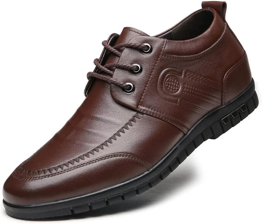 LHRFC Height-Increasing Shoes 6cm Men's Shoes Soft Leather Invisible Height-Increasing Single Shoes Men's Leather Shoes Shoes Brown-EU42