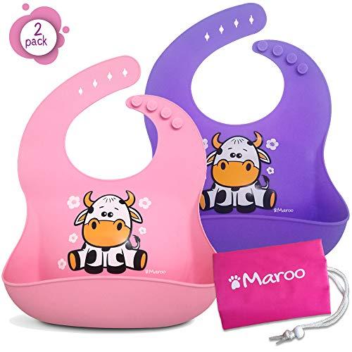 Waterdichte siliconen slabbetje van hoge kwaliteit voor baby's en kinderen van 6 maanden tot 4 jaar, met opvangbak, zacht, aangenaam om schoon te maken. Ideaal slabbetje voor de kleuterschool
