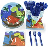 Juvale Dinosaur Party Decorations, Disposable Dinnerware Set (Serves 24, 144 Pieces)