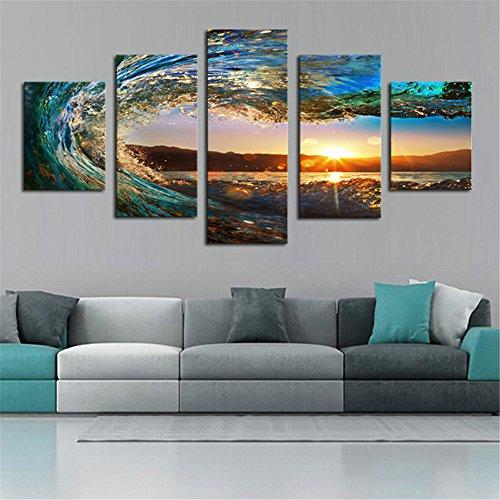 XDXART 5pezzi di arredamento immagini tela stampata pittura, Decor Art–Sunset Sea Wave Water spray Wall Art dipinti a olio stampato immagini (senza cornice in legno), 8x14x2p+8x18x2p+8X22inch